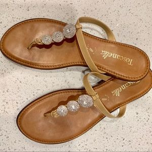 Size 10 Sandals - tan with rhinestones